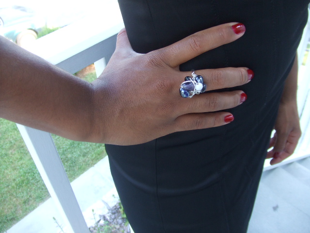 Blue and Silver Cluster Ring
