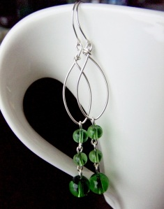 Green Raindrops Earrings-Custom Designs