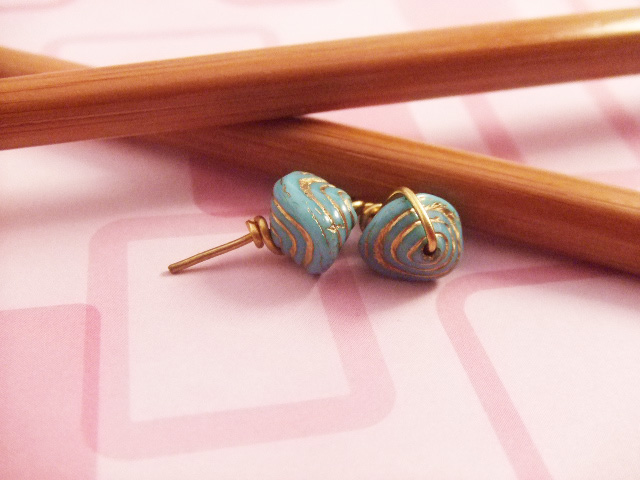 Gold Aqua Earrings