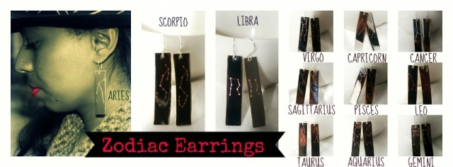 Zodiac Metal Earrings