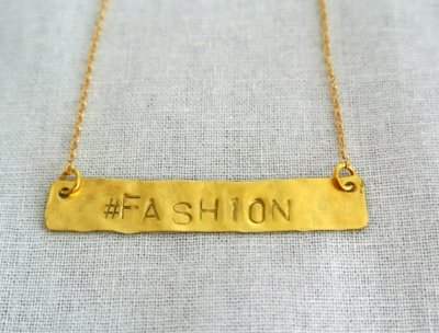 Hand Stamped Gold Bar Necklace