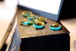 Hammered Gold Stacking Rings - Adjustable - Green Turquoise