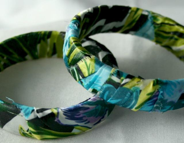 Silk Fabric Rain Forest Print Bangles