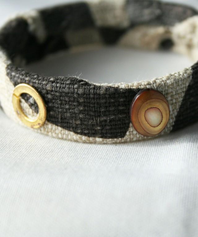 Brown Gold Bead Linen Cuff Bracelet