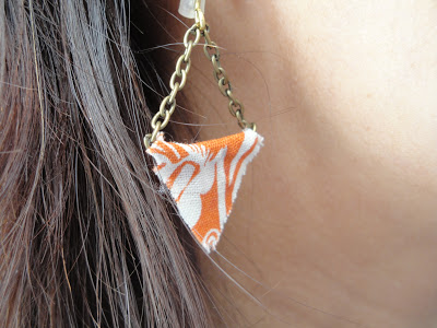 Orange Fabric Earrings