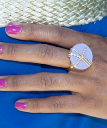 Pastel Lavender Purple and Gold Ring