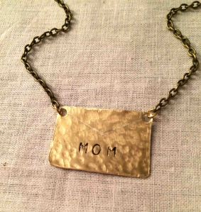 Gold Brass Hammered Mom Nameplate Necklace 5