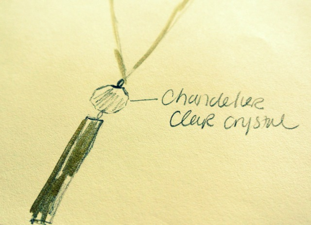 Gold Necklace Crystal Dangle (1)