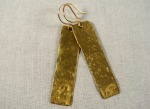 Long Rectangle Gold Drop Earrings - Distress Look 2