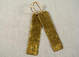Long Rectangle Gold Drop Earrings - Distress Look 2