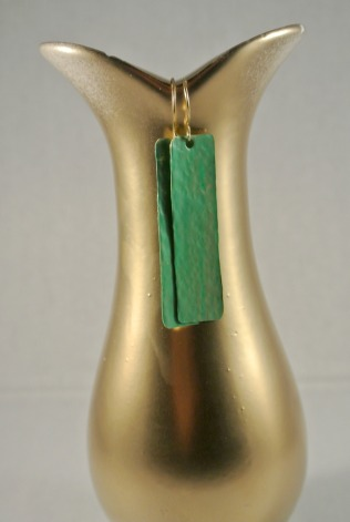 Lucite Green Long Rectangle Gold Drop Earrings - Distress Look 1
