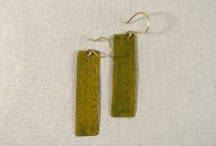 Olive Green Long Rectangle Gold Drop Earrings - Distress Look 3