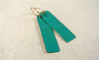 Turquoise Long Rectangle Gold Drop Earrings - Distress Look 3